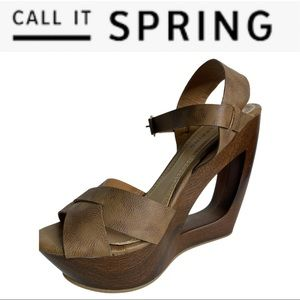 Call It Spring Wood Heel Platform Sandals